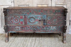 19th Century Tribal Dowry Chest with Animal Carvings, Saurashtra <b>SOLD<b>